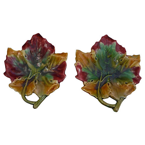 Majolica Leaves Dishes, S/2