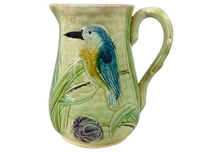 19th-C. Majolica Bird & Iris Pitcher
