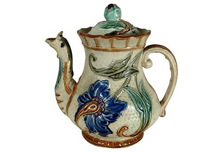 Majolica Blue Flowers Coffeepot