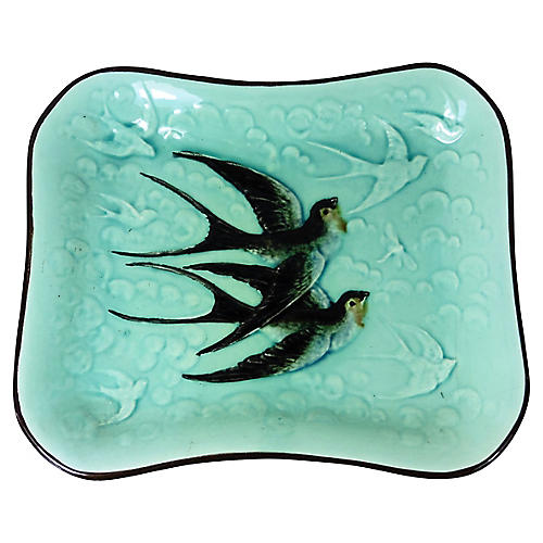 Majolica Swallows Wall Platter
