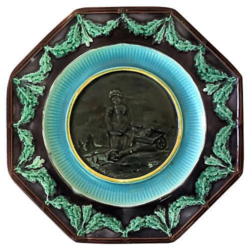 English Majolica Plate, C. 1880