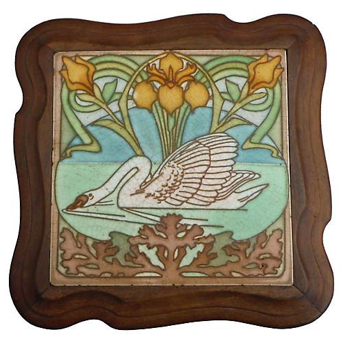 Majolica Swan Trivet