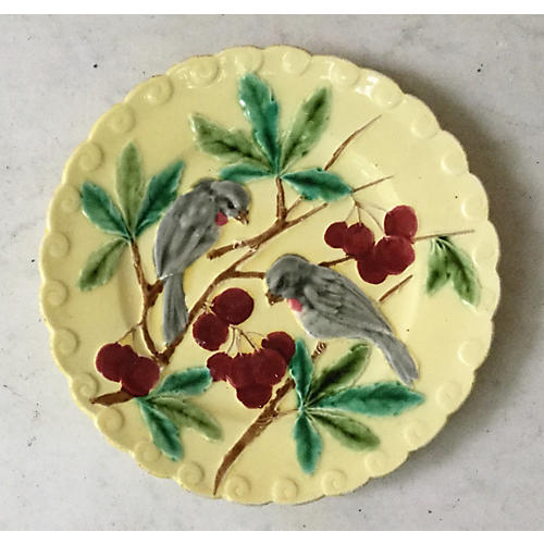 Majolica Birds & Cherries Wall Plate