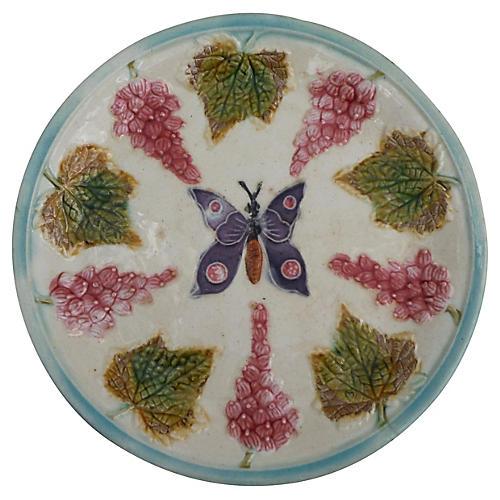 Majolica Butterfly & Grape Wall Plate