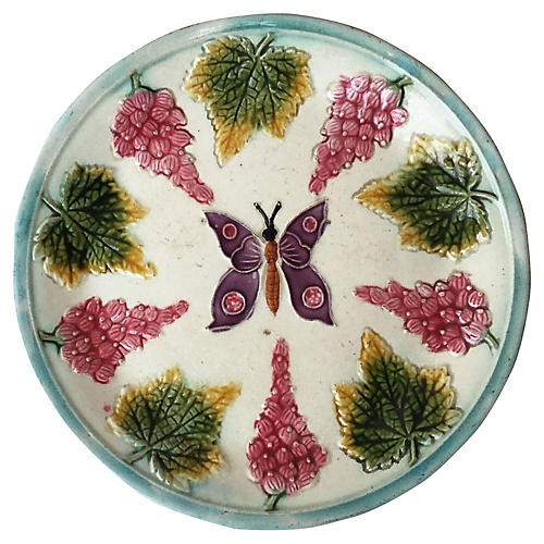 Majolica Butterfly & Grape Plate