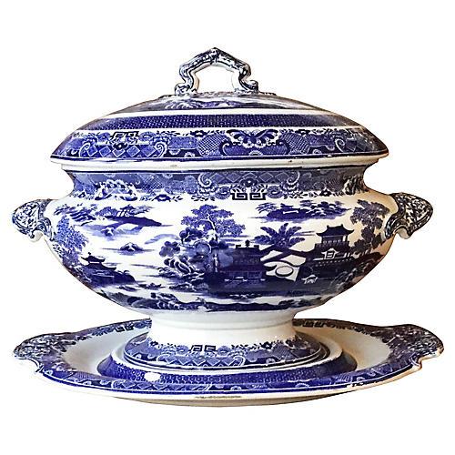 Large Blue & White Tureen Copeland