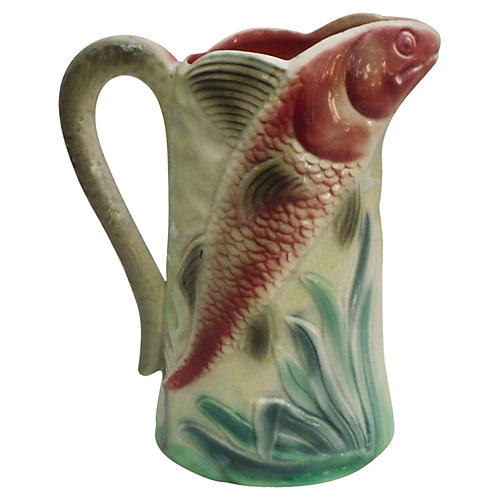 Majolica Fish Pitcher