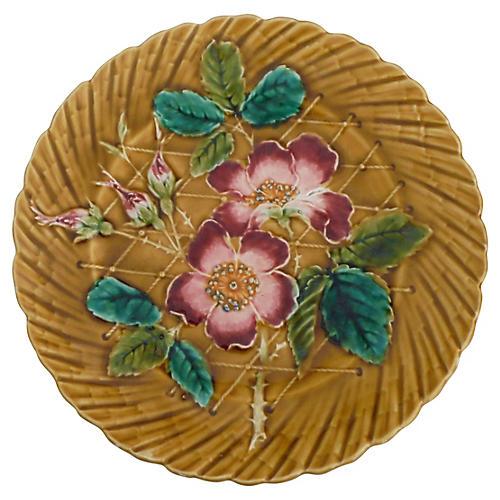 Majolica Wild Rose Wall Plate, C. 1890