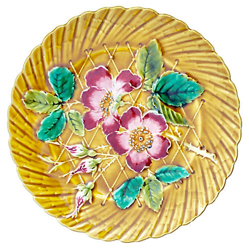 Majolica Wild Rose Wall Plate, C. 1890