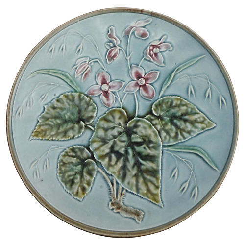 Blue Majolica Wall Plate w/ Pink Flowers