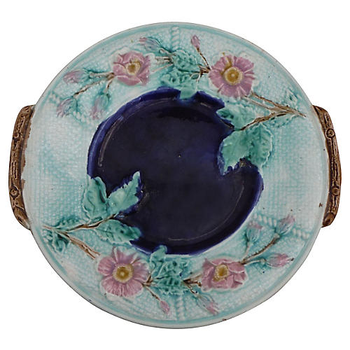 English Majolica Wild Rose Wall Platter