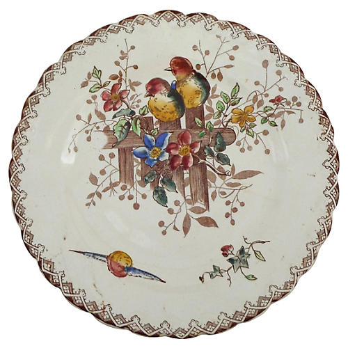 French Birds & Flowers Wall Plate