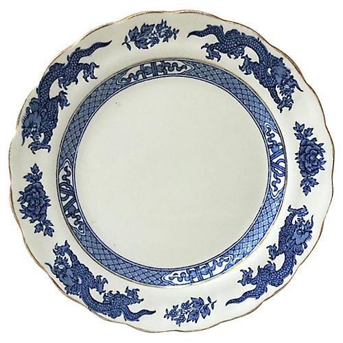 English Blue & White Dragon Plate