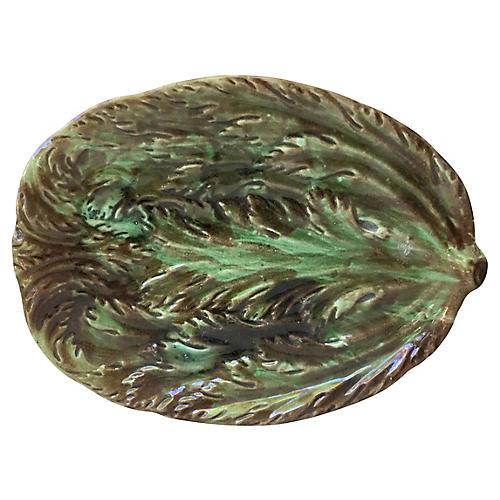 19th-C. Majolica Asparagus Platter