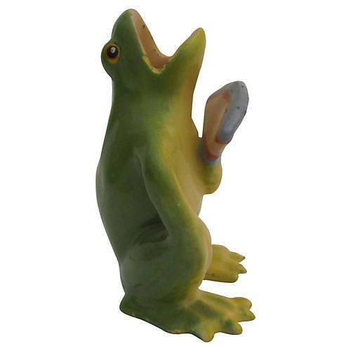 Massier Majolica Frog w/ Fan