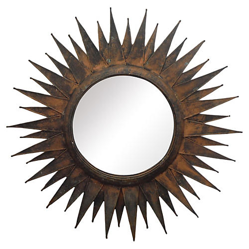 Modernist Metal Sunburst Mirror