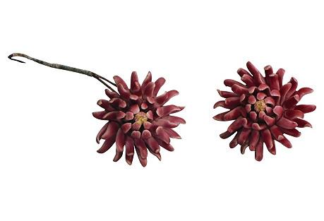 Majolica Flowers, Pair