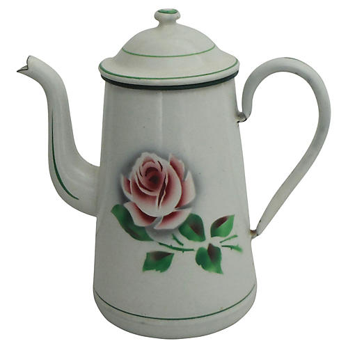 German Enamel Rose Coffeepot