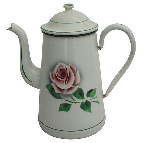 German Enamel Rose Coffeepot