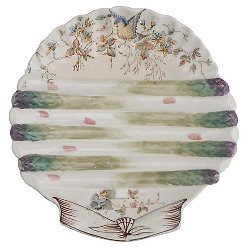 19th-C. Asparagus Wall Plate