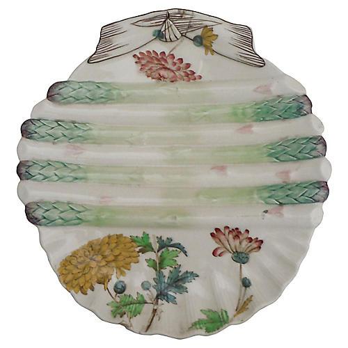 19th-C. Majolica Asparagus Wall Plate