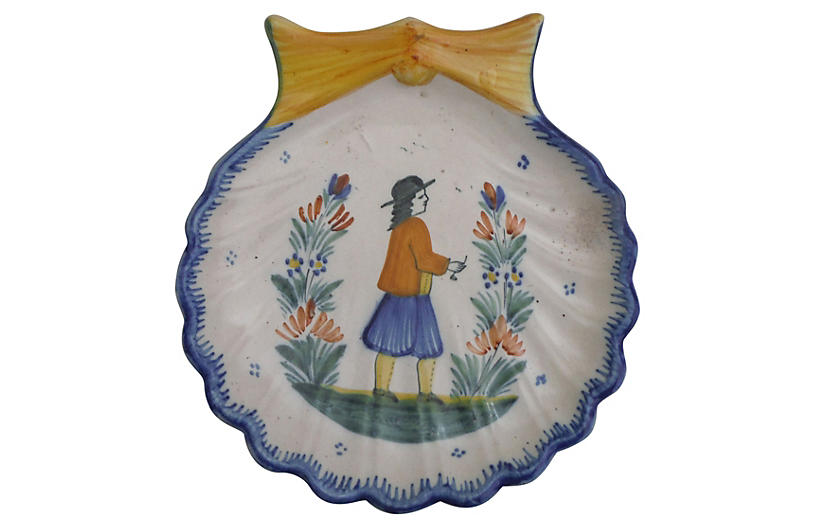Faience Quimper Shell Wall Platter