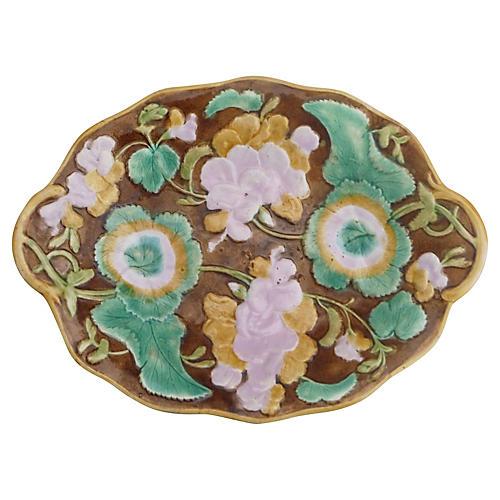 19th-C English Majolica Geranium Platter