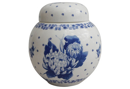 Blue & White Mums Ginger Jar
