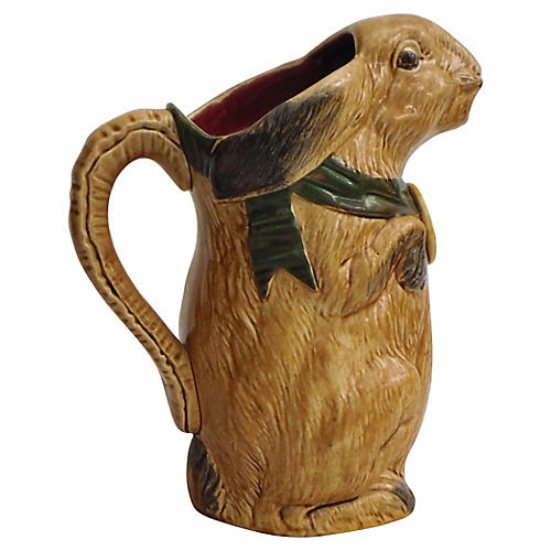 Antique Majolica Rabbit Pitcher
