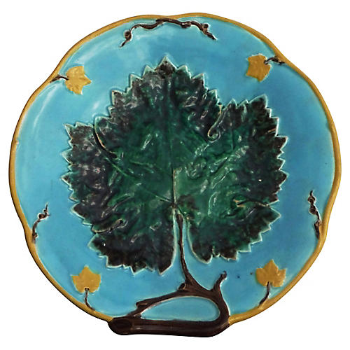 English Majolica Leaf Cake Stand