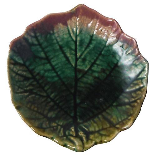 19th-C. Majolica Leaf Butter Dish