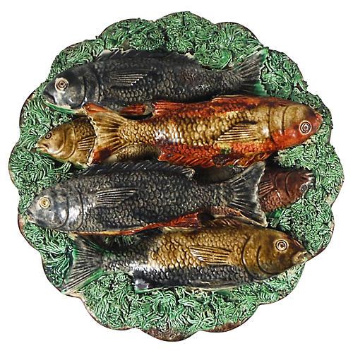 19th-C. Majolica Fish Wall Platter