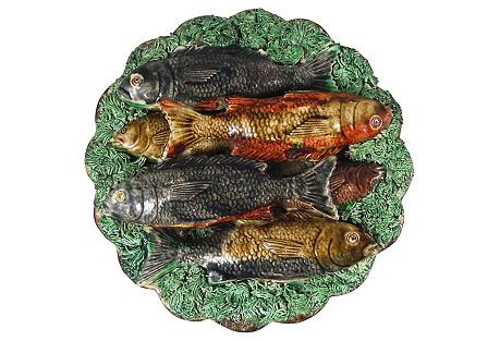 19th Majolica Palissy Fish Wall Platter