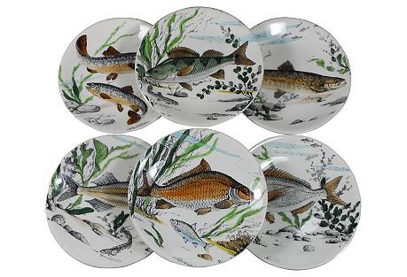 Fish Plates Gien Set, S/6