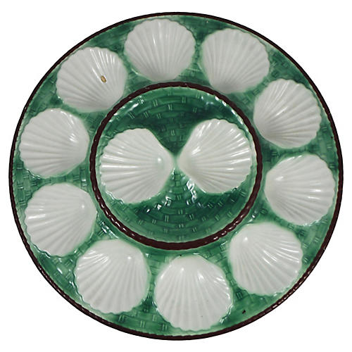 1950s Green Majolica Oyster Platter