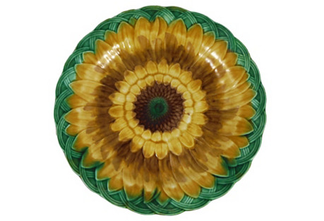 19th Majolica Sunflower Wall Plate