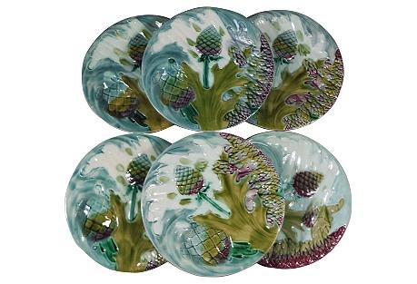19th Majolica Asparagus Plates , S/6