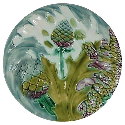 19th-C. Majolica Asparagus Plate