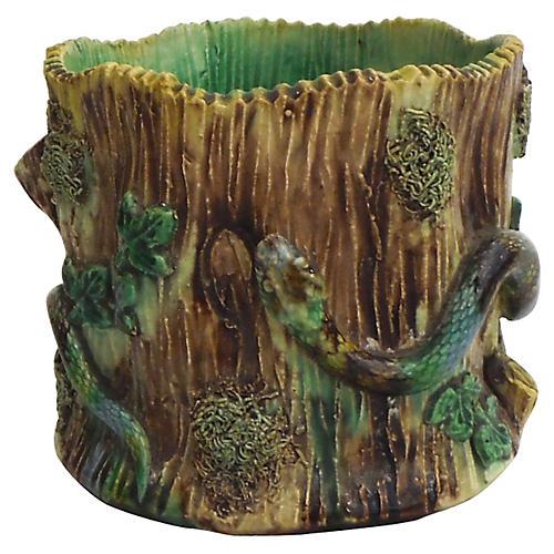 19th-C. Majolica Palissy-Style Vase
