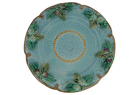 Majolica Strawberry Wall Plate, C.1870