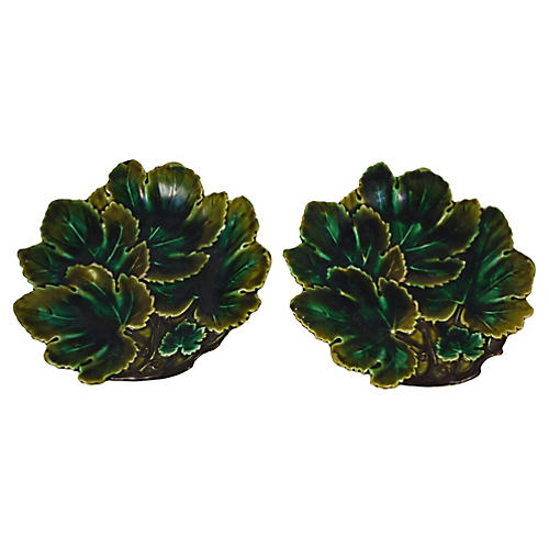 19th-C. Majolica Leaf Plates, Pair