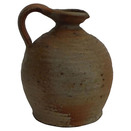 19th-C. French Pottery Pitcher