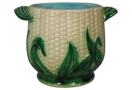 19th-C. Majolica Corn Cache pot