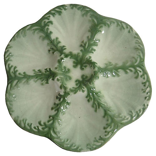 Majolica Seaweed Oyster Plate