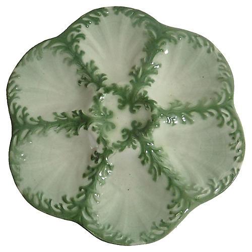 Majolica Seaweed Oyster Plate