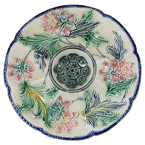 19th-C. Majolica Oyster Plate