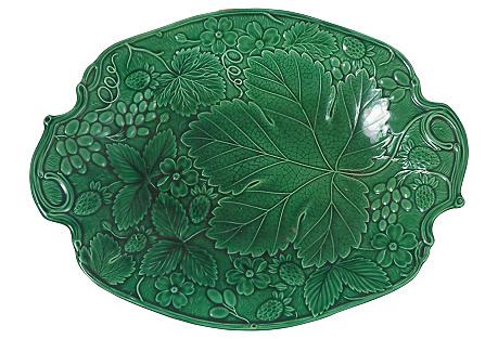 19th-C. Green Majolica Platter