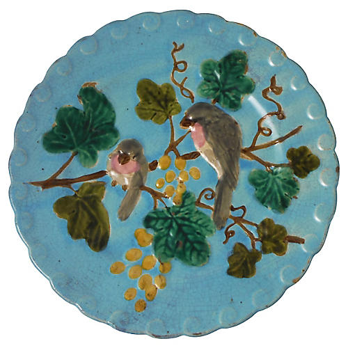 Majolica Birds & Grapes Wall Plate