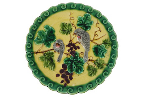 Majolica Birds & Grapes Wall Plate