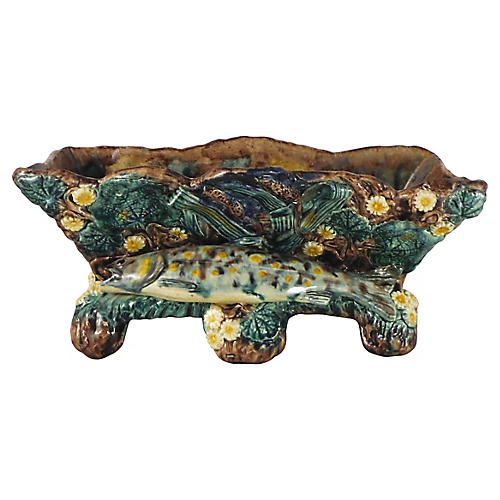 19th Majolica Palissy Fish Jardiniere